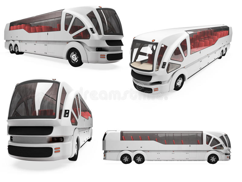Collage of isolated concept bus. Isolated collection of concept bus over white vector illustration
