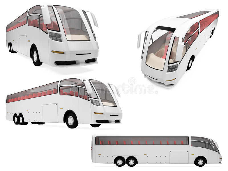 Collage of isolated concept bus vector illustration