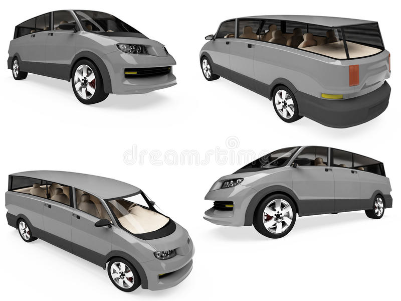 Collage Of Isolated Concept Car Stock Images
