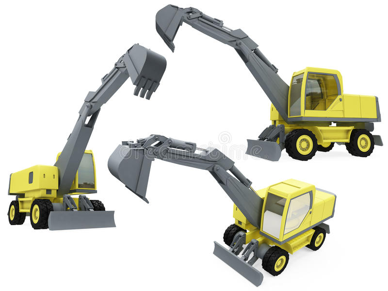 Download Collage Of Isolated Construction Vehicle Stock Illustration - Image: 12135757