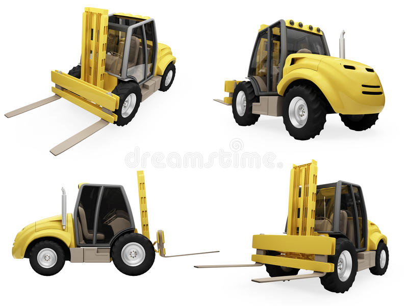 Collage Of Isolated Fork Truck Royalty Free Stock Photo