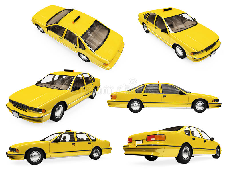 Collage of isolated yellow taxi royalty free illustration