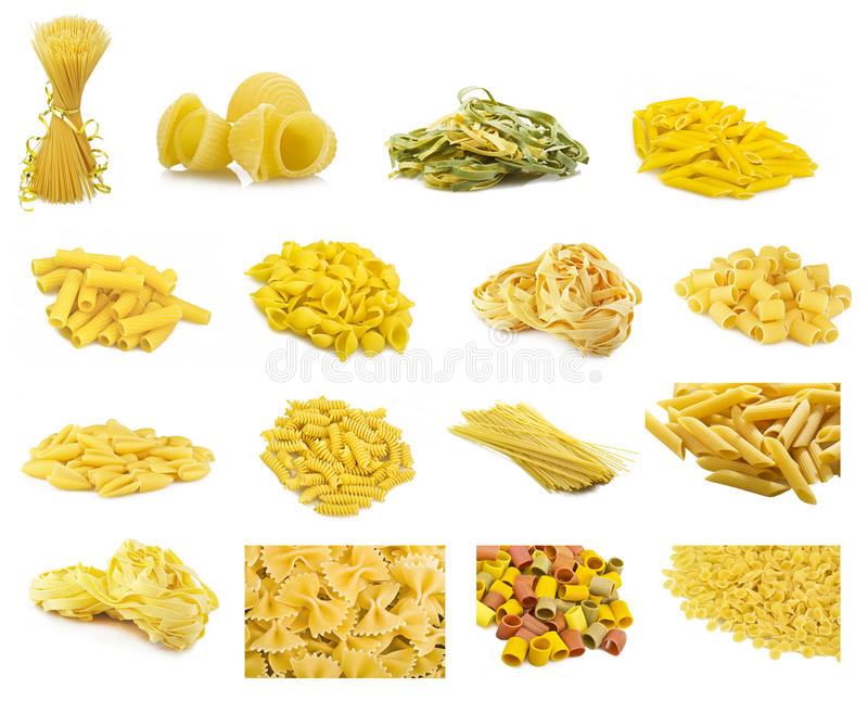 Collage of Italian pasta stock photography