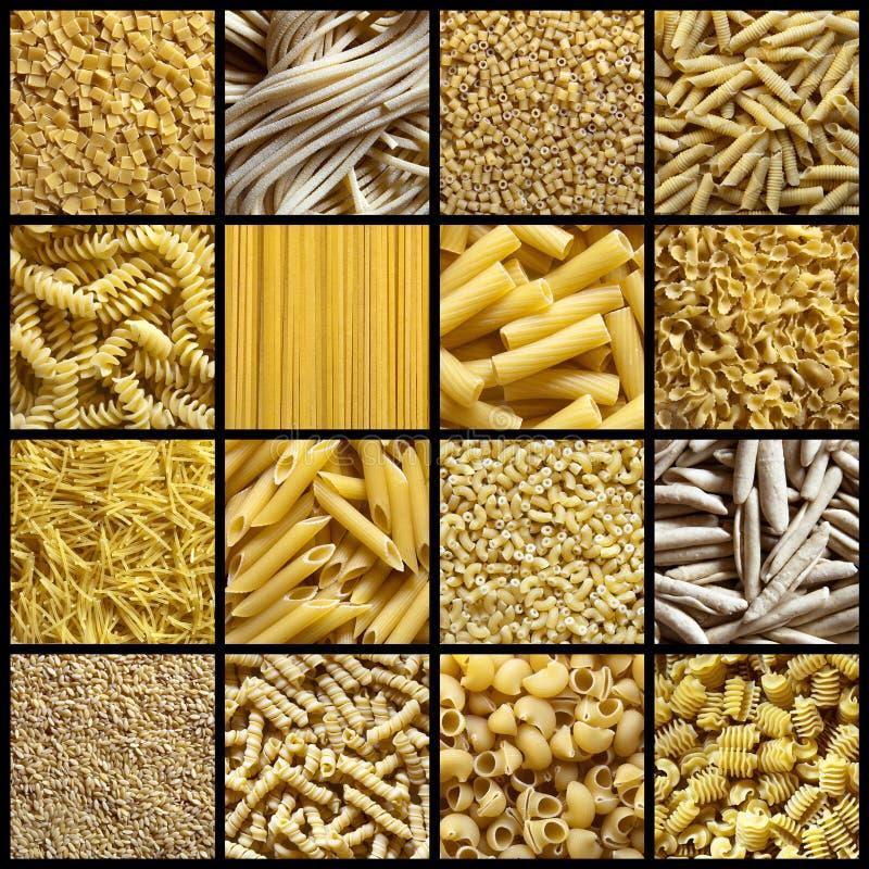 Collage italiano de las pastas imagenes de archivo