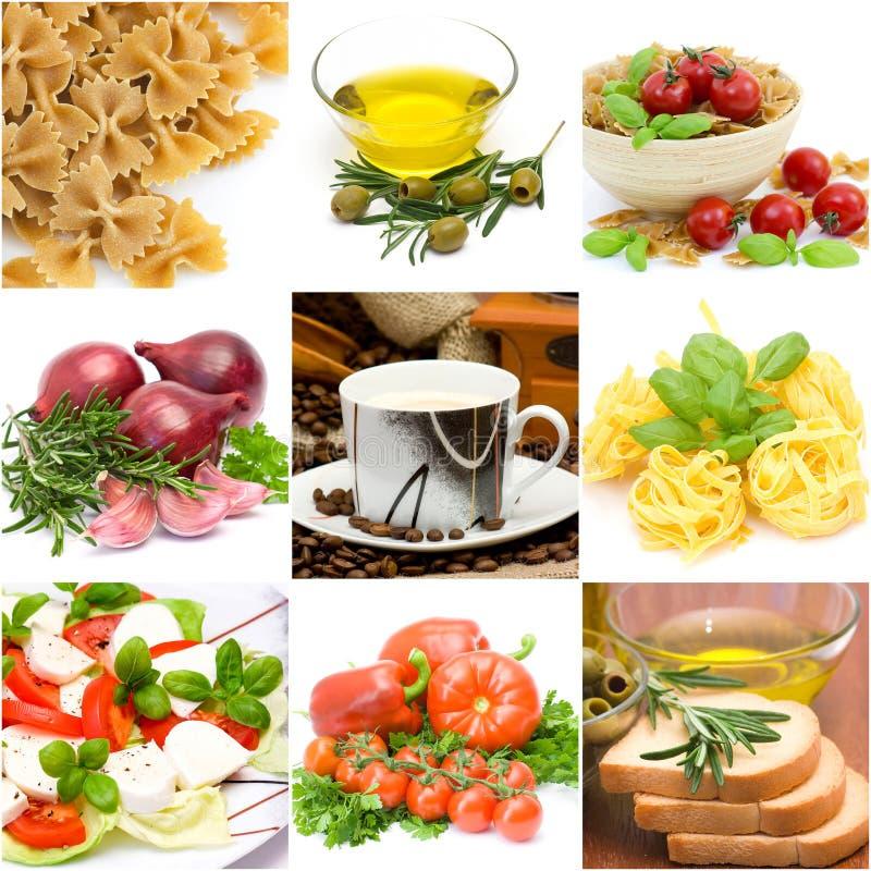 Collage italiano del alimento imagen de archivo libre de regalías