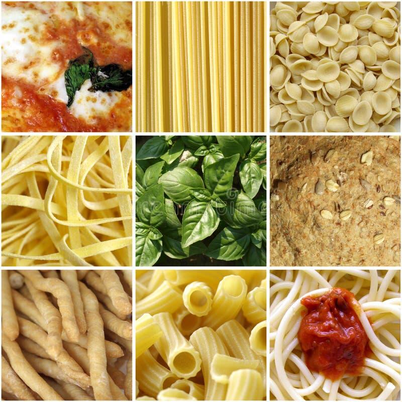 Collage italiano dell'alimento immagini stock libere da diritti