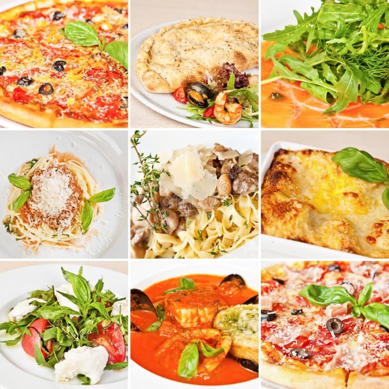 Collage italien de nourriture image libre de droits