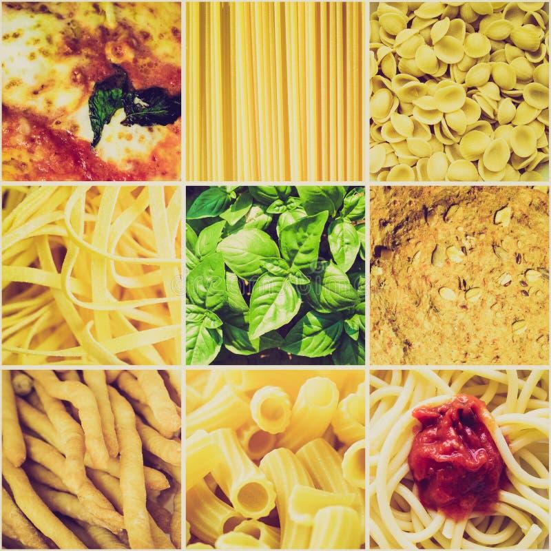 Collage italien de nourriture de rétro sembler photographie stock