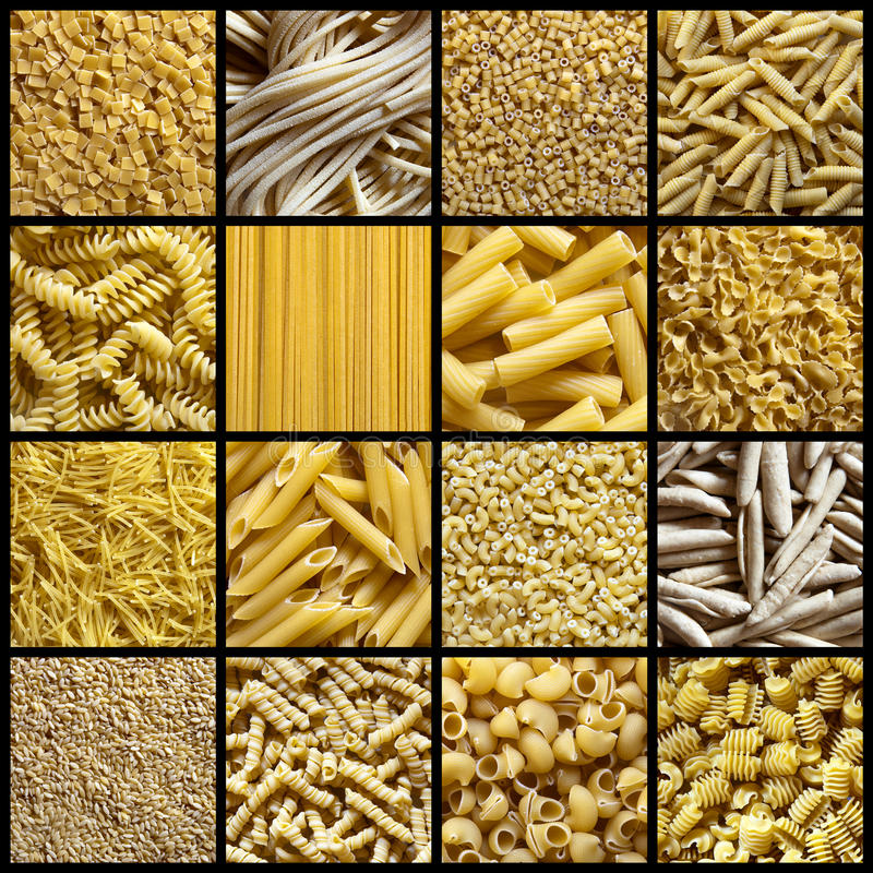 Collage italien de pâtes images stock