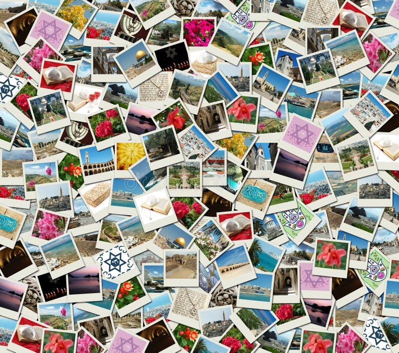 Collage juif de fond fait de photos de course photo libre de droits