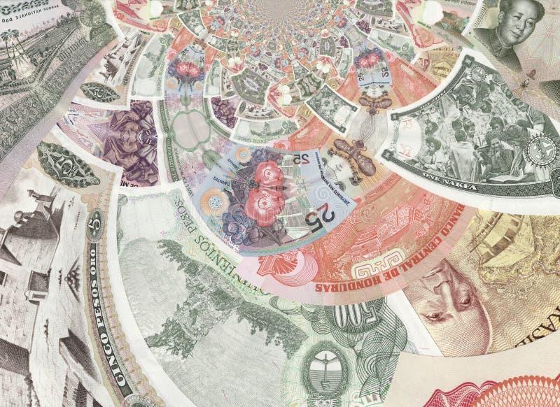 Collage kaléïdoscopique de billets de banque photo libre de droits