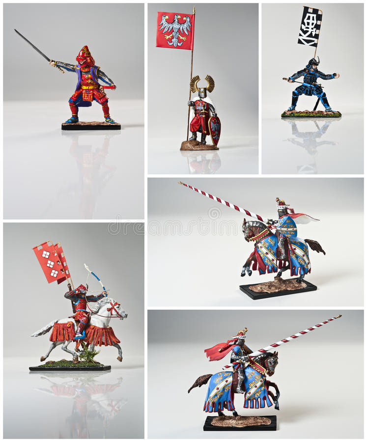 Collage With Knights And Samurai Royalty Free Stock Image