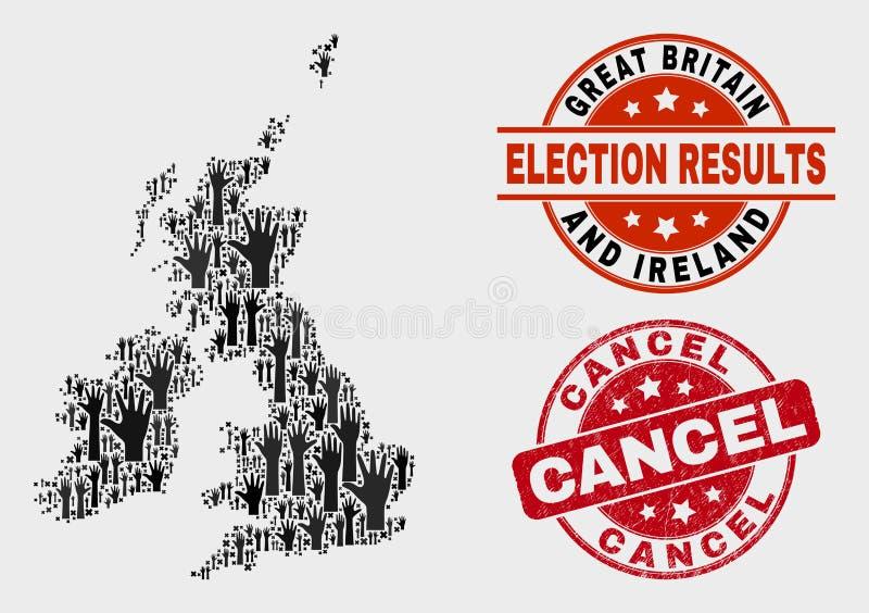 Collage Löschen-des Stempels des Stimmzettel-Großbritannien und Irland-Karte und -Schmutzes vektor abbildung