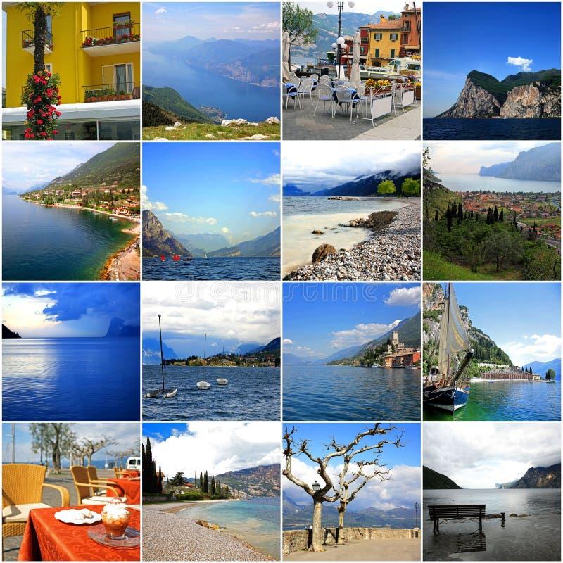 Collage of lake Garda in Italy stock photos