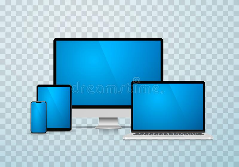Collage laptop phone tablet computer. vector illustration