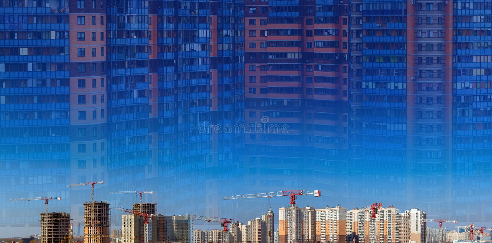 Collage of large construction site including several cranes working on a building complex, workers, construction gear. Tools and equipment, trucks and blue sky royalty free stock image