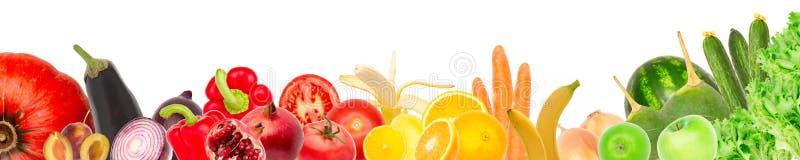 Collage large des fruits frais et des légumes pour la disposition d'isolement sur le fond blanc Copiez l'espace illustration de vecteur
