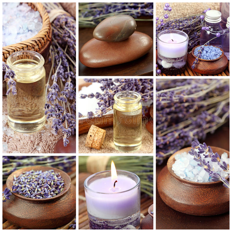 collage lavender spa στοκ εικόνα