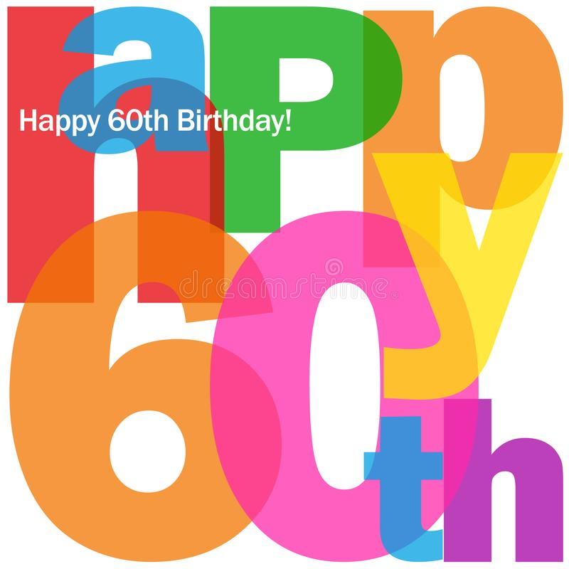 HAPPY 60th BIRTHDAY colorful letters collage card vector illustration