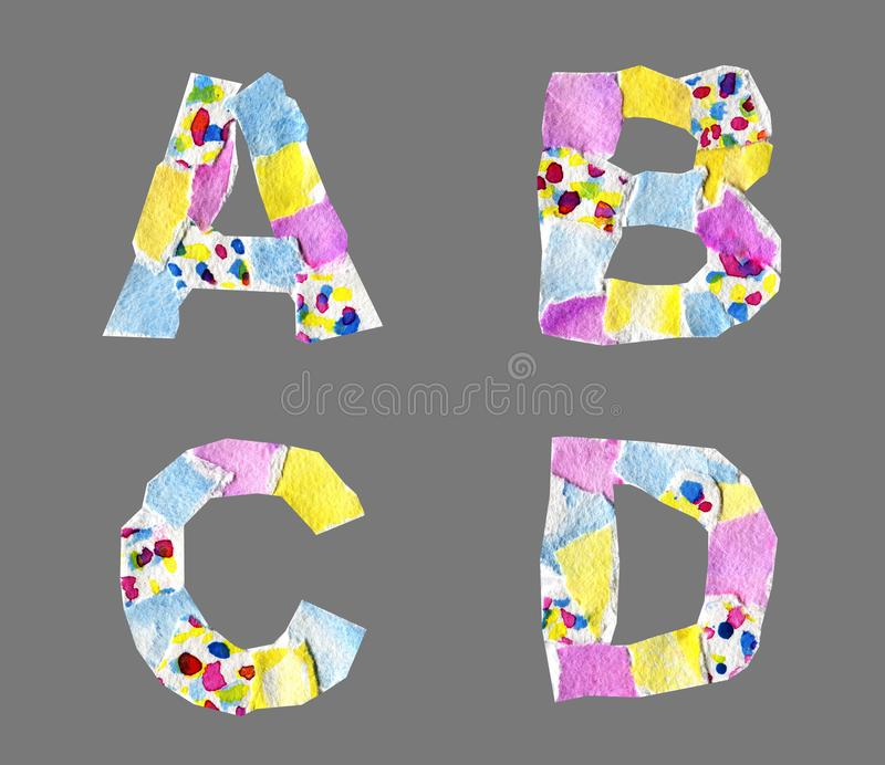 Collage letters from A to D made of paper isolated on grey backg. Collage abc made of watercolor paper with spots isolated on grey background. Abstract grotesque royalty free stock images