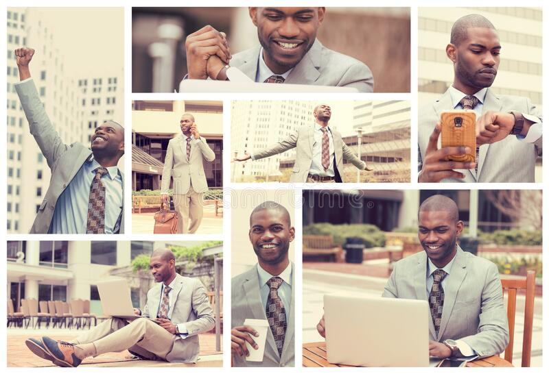 Collage of a lifestyle of a young successful busy businessman stock photo