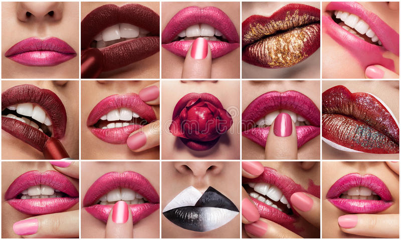 Collage of lips in close up photos royalty free stock photos