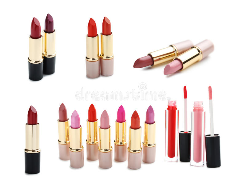 Collage of lipsticks royalty free stock photography