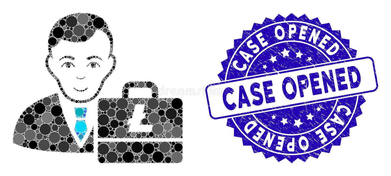 Collage Litecoin Accounter Ícone com Caixa Aberta Textuturada ilustração do vetor