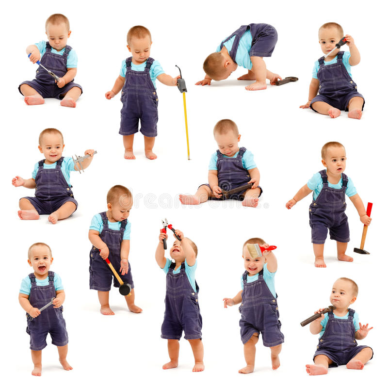 Collage of little boy playing with tools stock image
