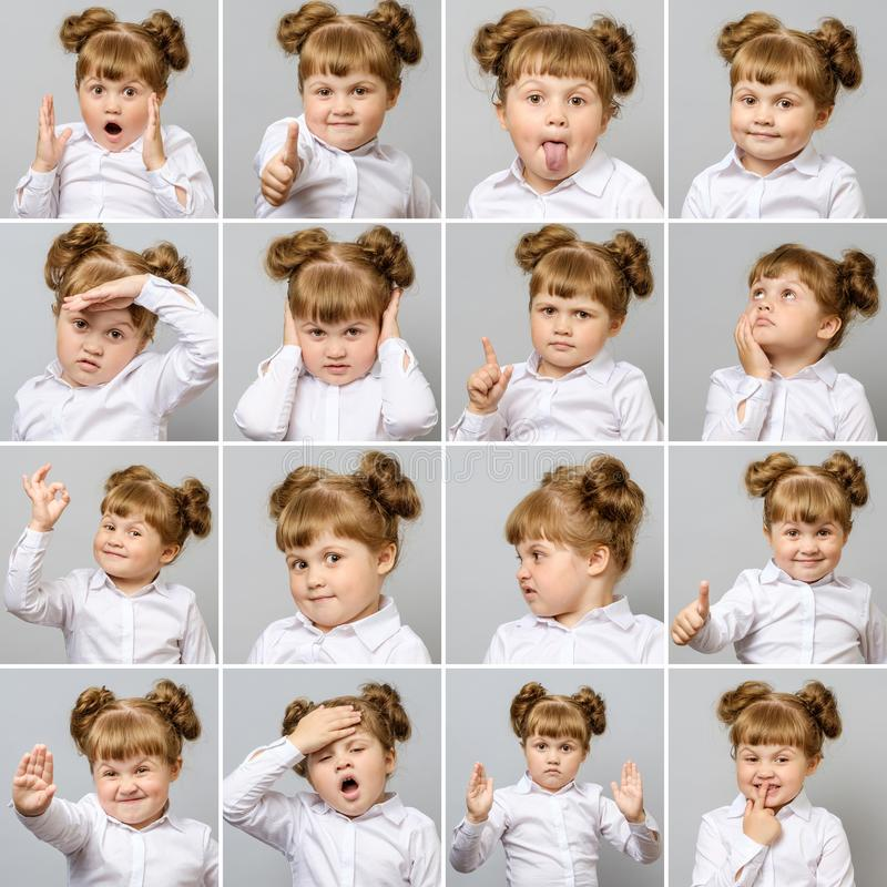 Collage of little cute girl with different emotions and gestures royalty free stock images