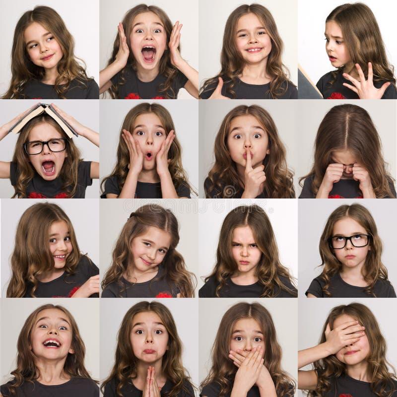Set of emotional portraits of child girl stock photo