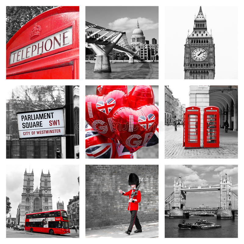 Collage of London landmarks royalty free stock images