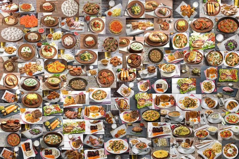 Collage of lots of food. Collage of a large number of food from different countries of the world stock image