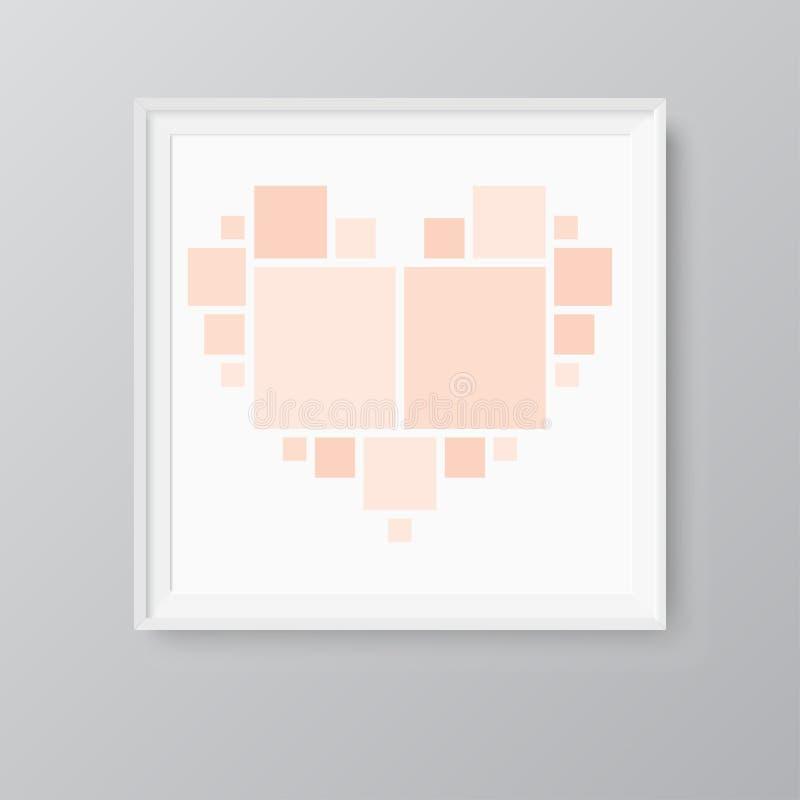 Collage love heart twenty frames, photos, parts. stock illustration