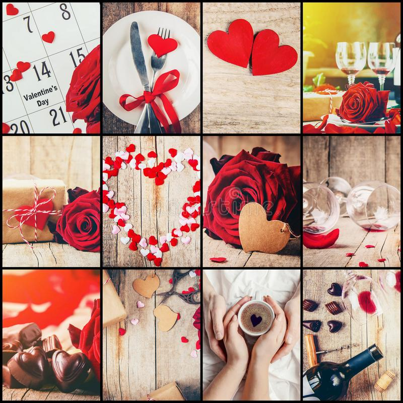 Collage of love and romance. royalty free stock images