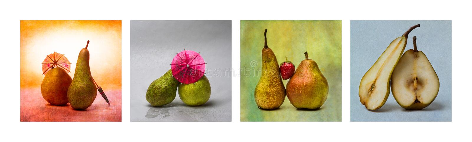 Collage Love Story - Horizontal. Collage Love Story. Collage of four photos of pear fruits, cocktail umbrellas and straberry. Four funny scenes describing the royalty free stock photos