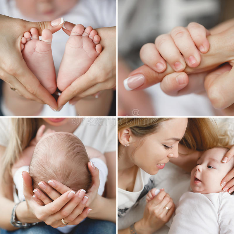 Collage loving mother with a newborn baby stock photos