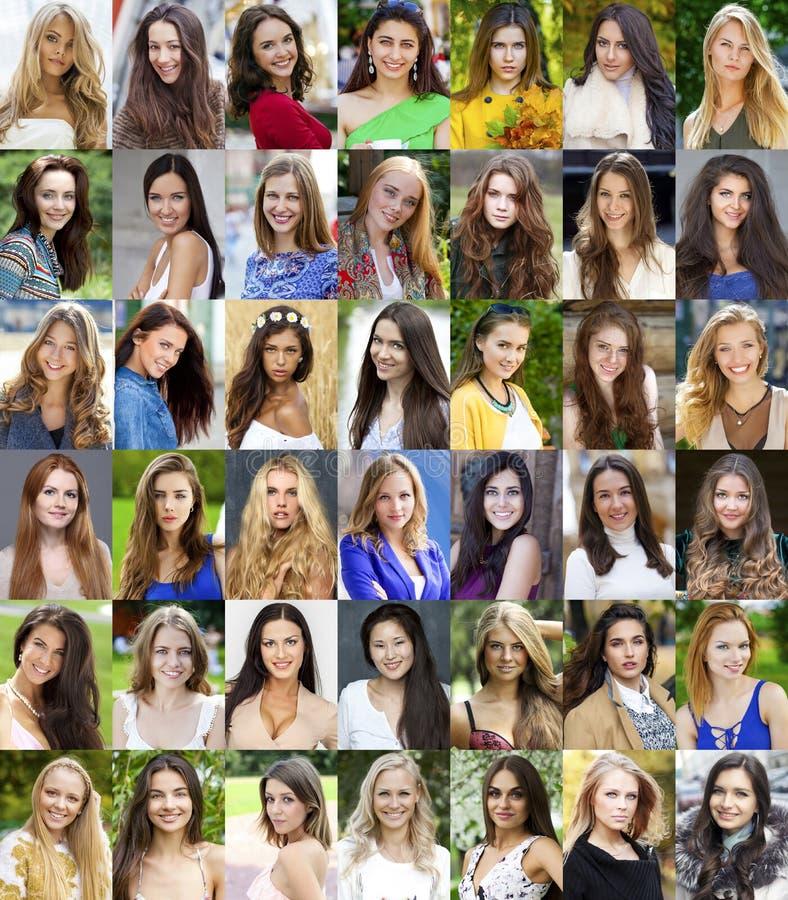 Collage lyckliga unga kvinnor royaltyfria foton
