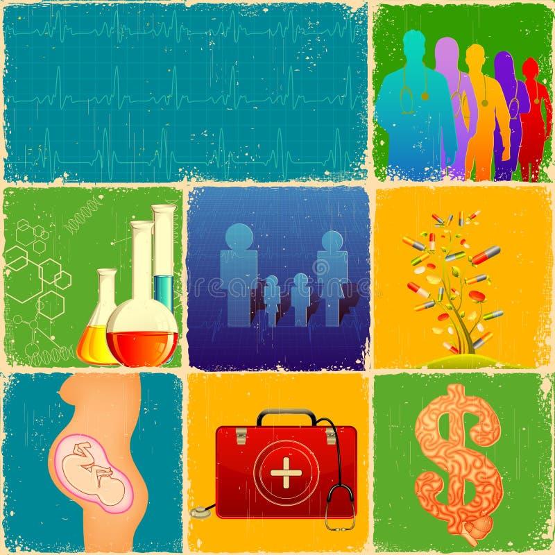 Collage médico stock de ilustración