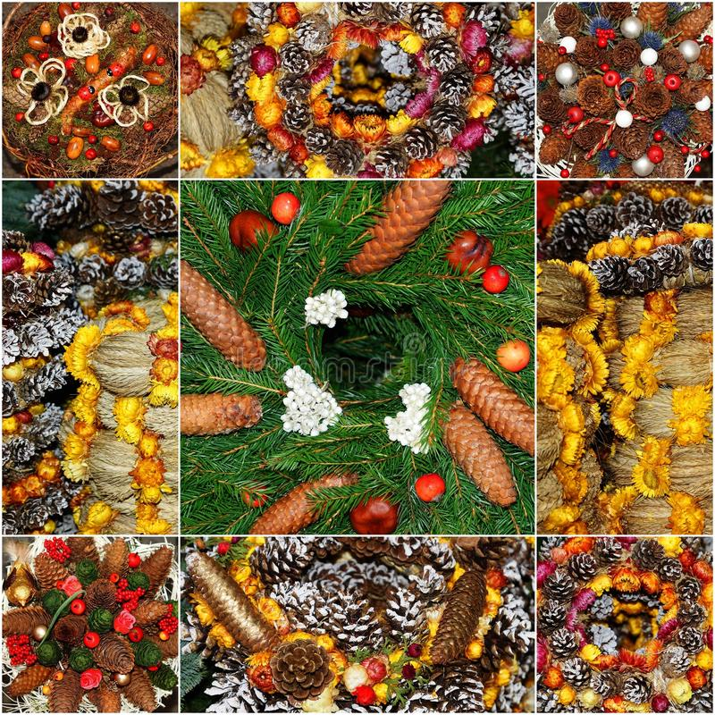 Collage made ​​of fir and Christmas decorations royalty free stock photography