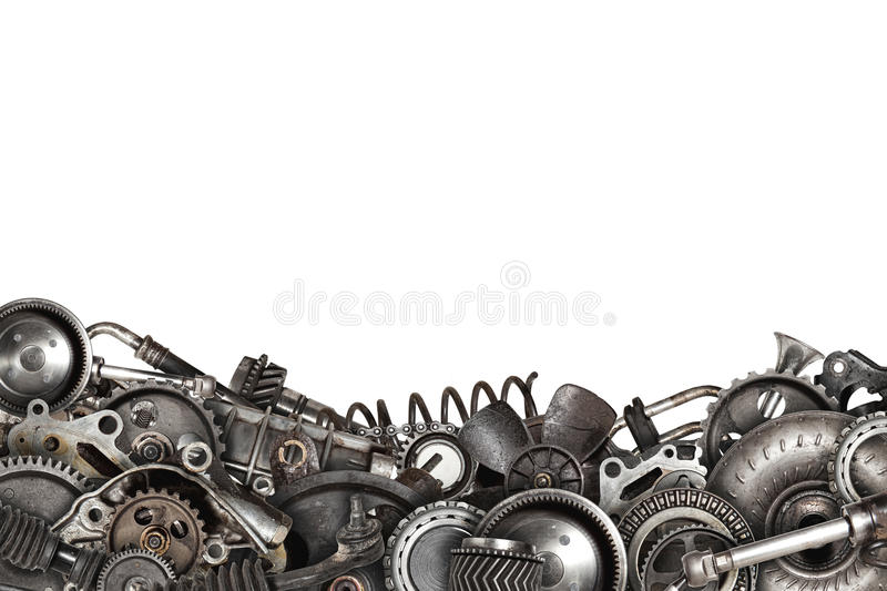 Collage made of old auto spare parts car isolated stock photos