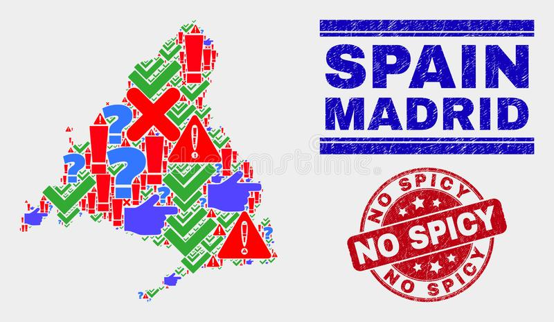 Collage of Madrid Province Map Symbol Mosaic and Scratched No Spicy Stamp Seal. Symbol Mosaic Madrid Province map and seal stamps. Red rounded No Spicy scratched vector illustration