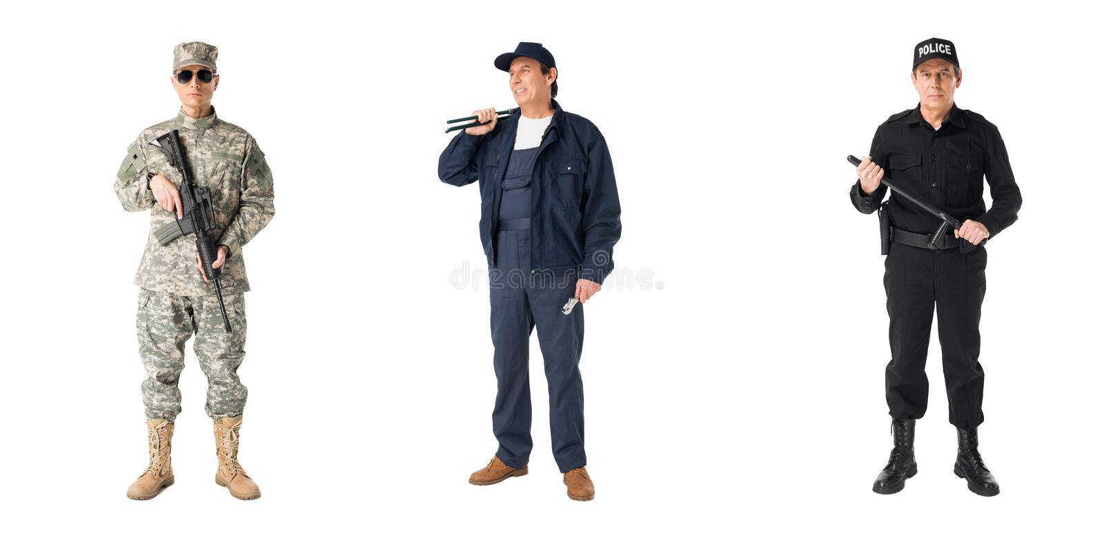Collage with male professions soldier policeman and plumber stock photo