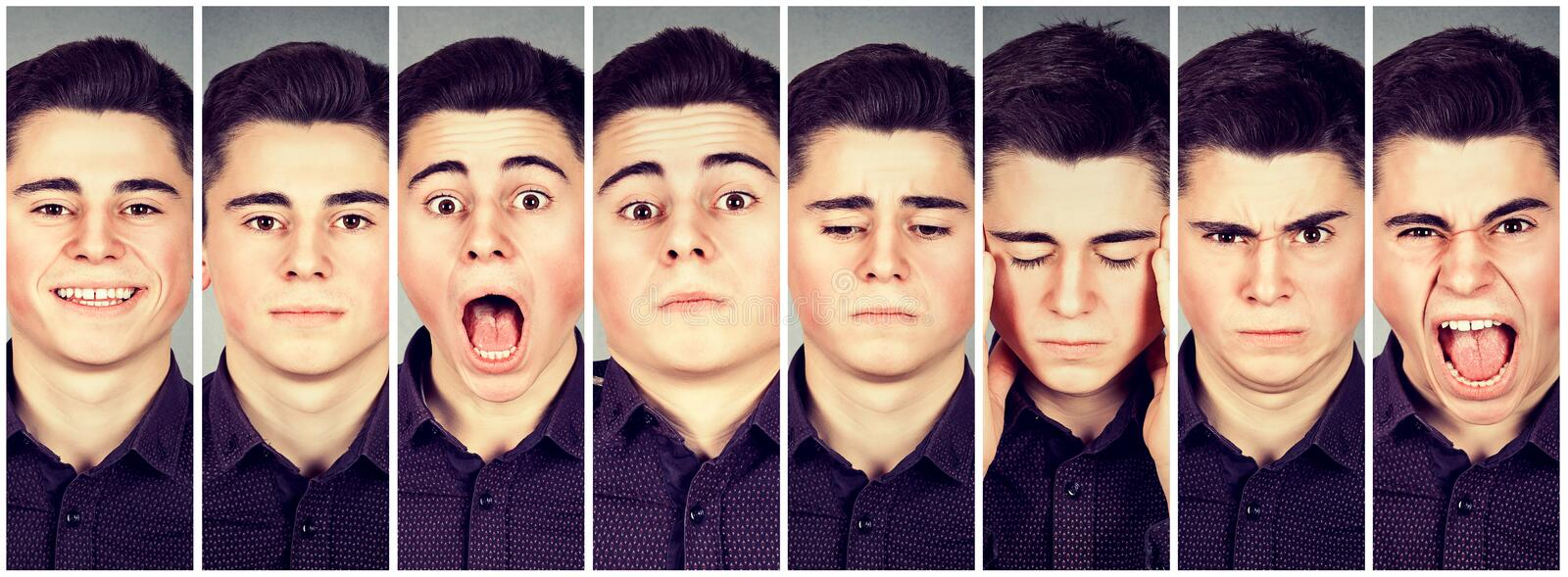 Collage of a man expressing different emotions. Collage of a young man expressing different emotions stock images