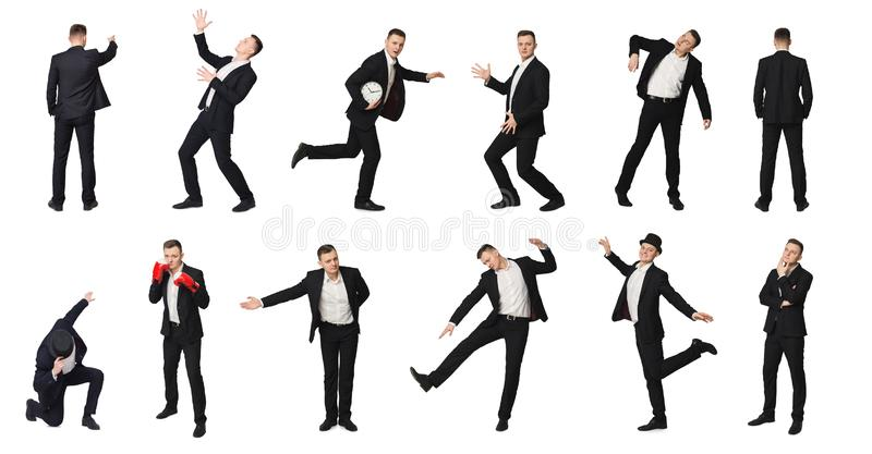 Collage of man in motion, isolated royalty free stock photos