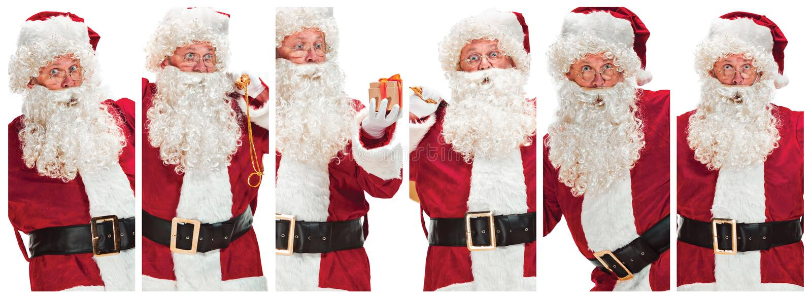 The collage of man in Santa Claus Costume royalty free stock photography