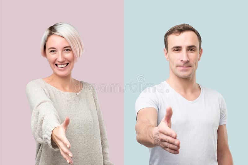 Collage of man and woman giving hand for shaking. Collage of men and women giving hand for shaking welcoming their new coworker. Positive facial human emotion royalty free stock image