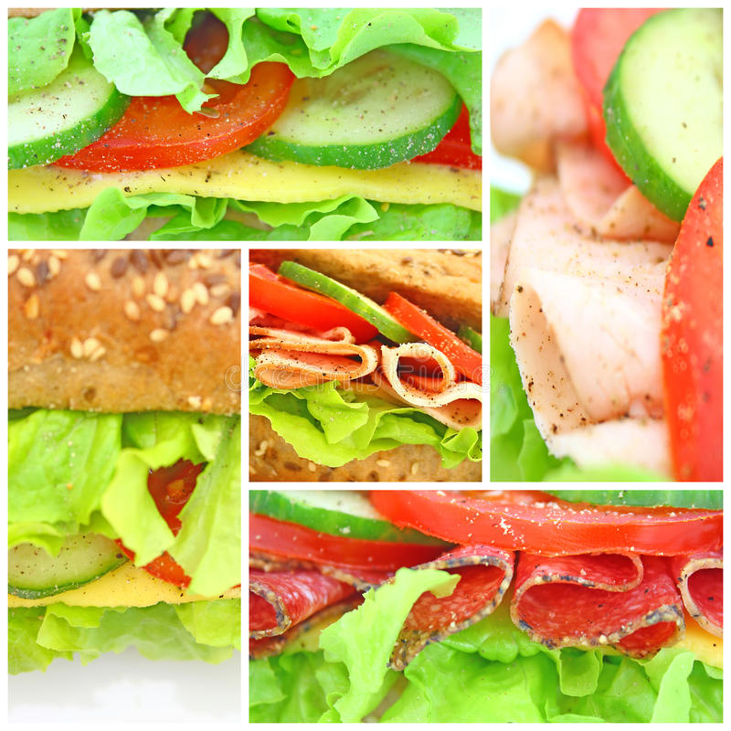 Collage of many different fresh sandwichs royalty free stock photo