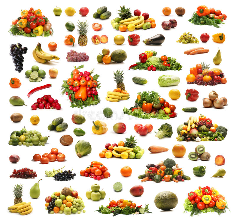 A collage of many different fruits and vegetables stock images