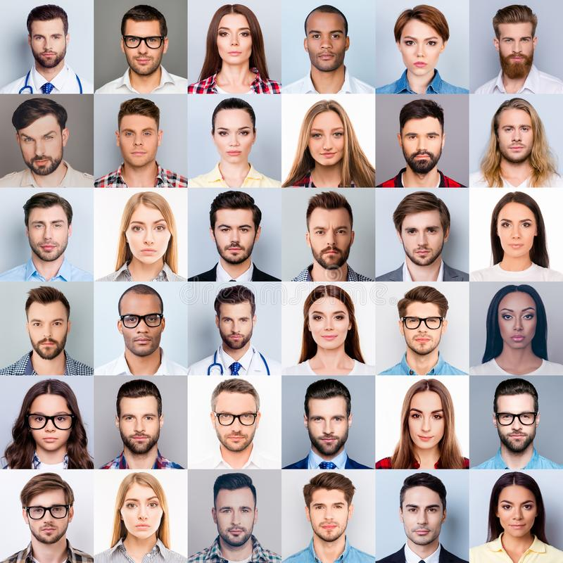 Collage of many diverse, multi-ethnic people`s close up heads, beautiful, attractive, handsome, pretty expressing concentrated, t royalty free stock photos